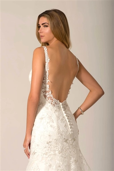 AT4677 beaded lace wedding dress back