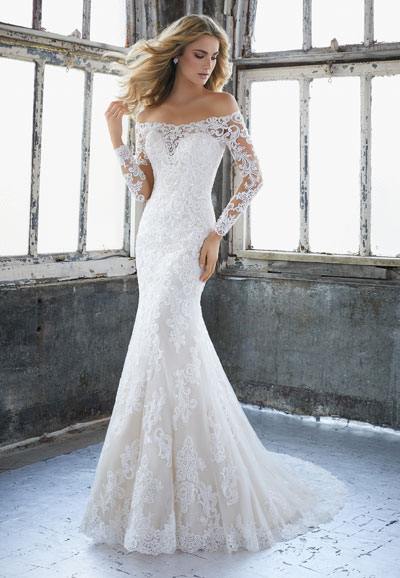 Karlee 8207 - Off the shoulder lace wedding dress
