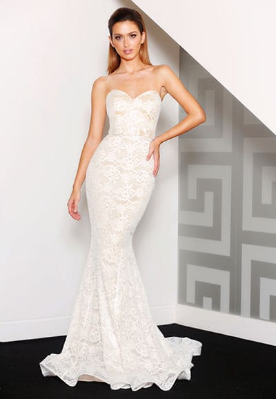 J8087 All lace strapless fitting gown