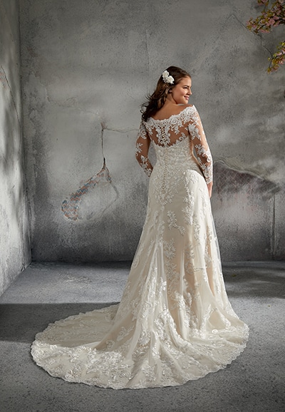 back of 3243 plus size wedding gown