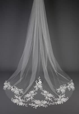 Floral Sequinned Lace Veil 280x400 - Bridal Accessories