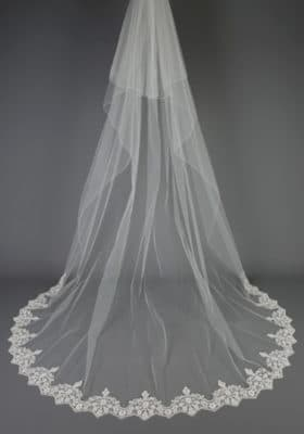 Open Beaded Lace Veil 280x400 - Bridal Accessories