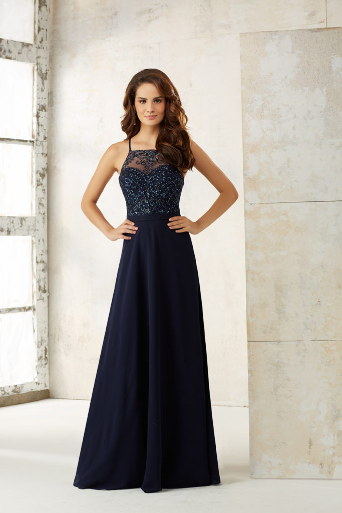 Chiffon-A-Line-bridesmaids-dress-with-beaded-bodice