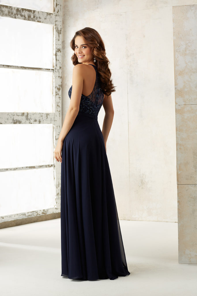 Chiffon-A-Line-bridesmaids-dress-with-beaded-bodice-back