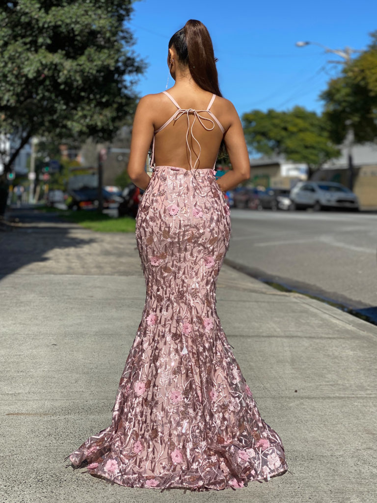 Floral Lace Ball Gown JX4019-Dusty-Pink-Back