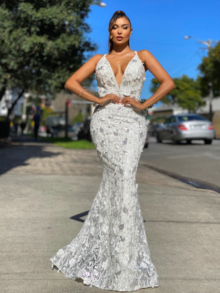 Floral Lace Ball Gown JX4019-Ivory