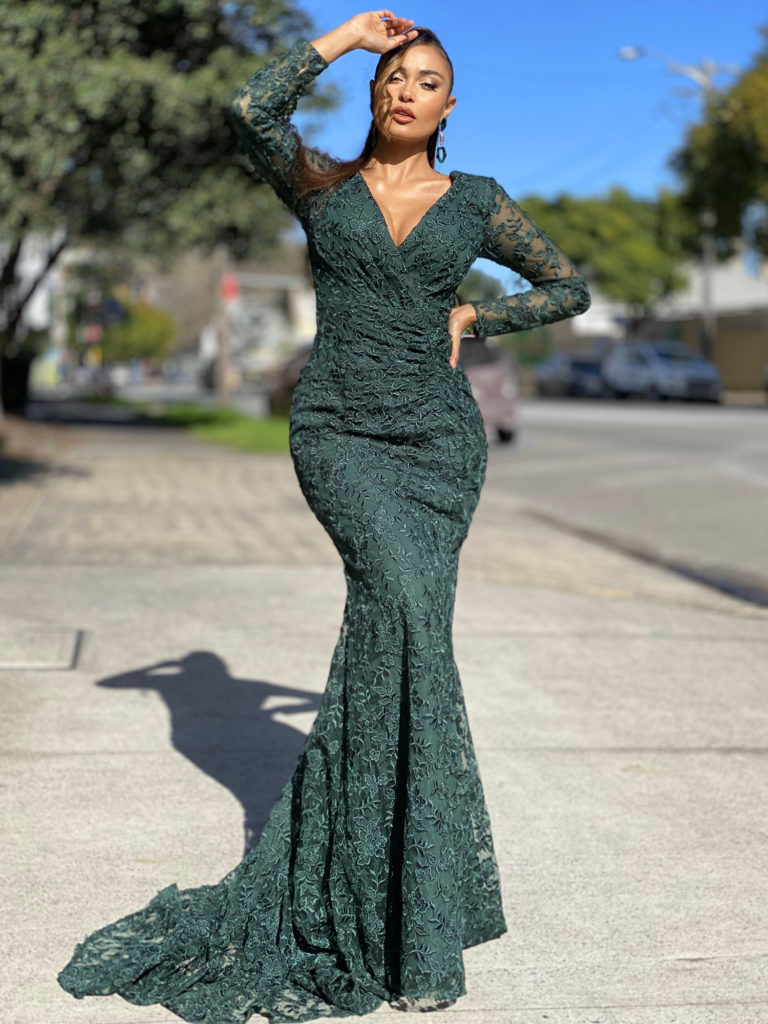 Lace ball gown JX4016-Emerald