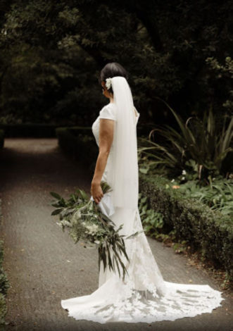 Wedding-dress-with-beautiful-lace-train-for-Esther